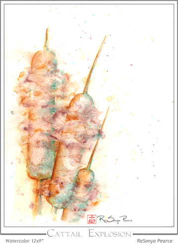 Watercolor of cattails by RaSonya Pearce