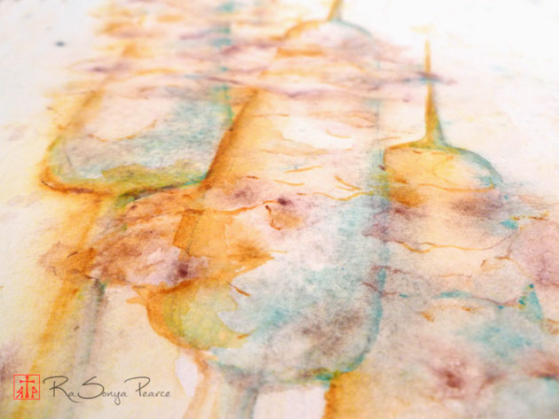 Closeup of watercolor of cattails by RaSonya Pearce