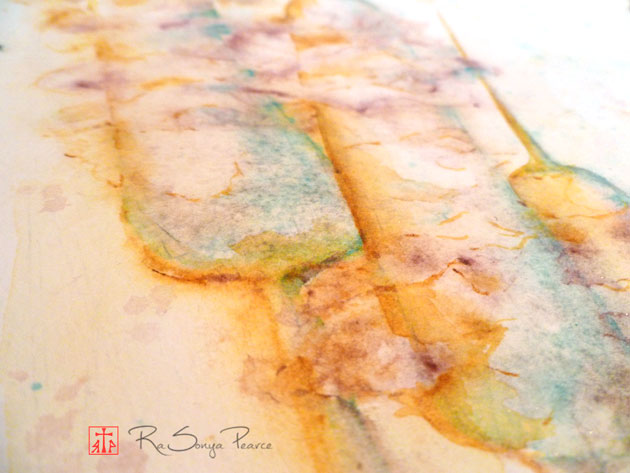 Closeupview of a watercolor of cattails by RaSonya Pearce