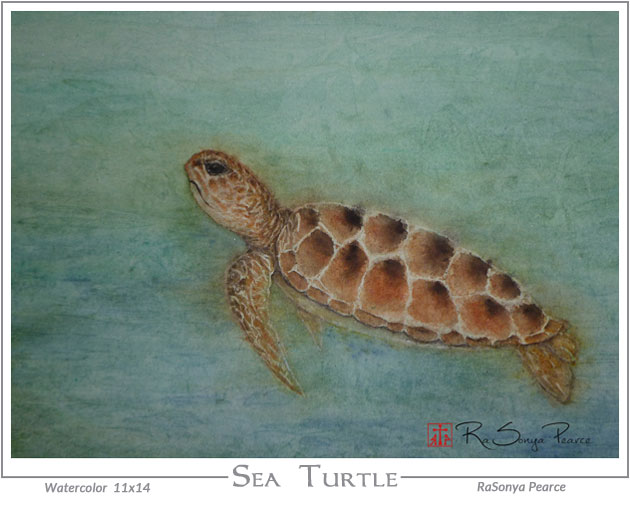 Sea Turtle by RaSonya Pearce www.FaithworksArtStudio.com
