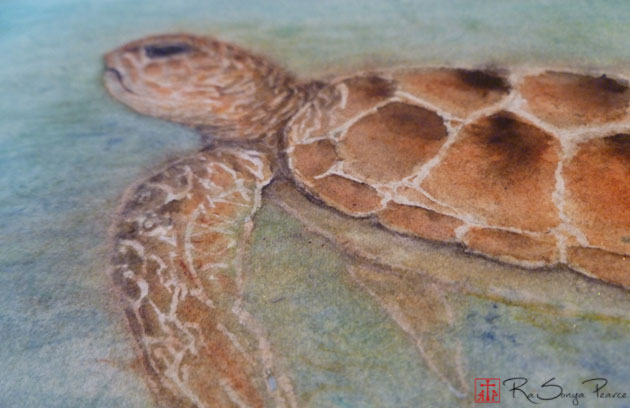 Sea Turtle watercolor by RaSonya Pearce www.FaithworksArtStudio.com