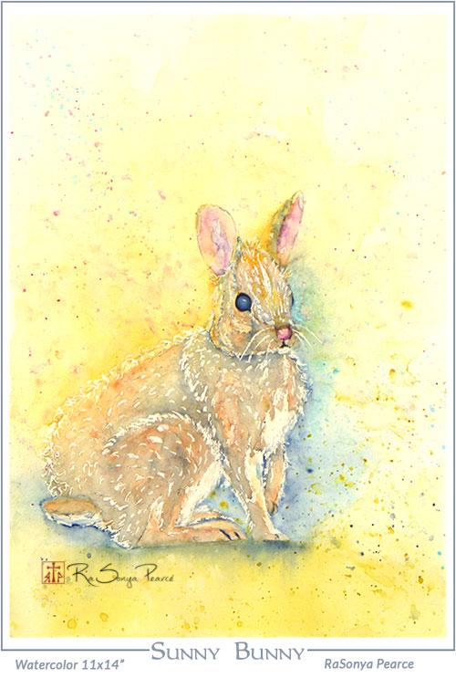 Sunny Bunny- watercolor by RaSonya Pearce www.FaithworksArtstudio.com