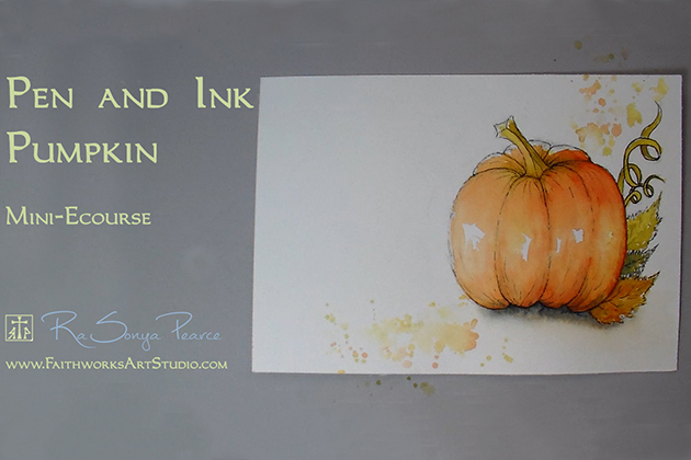 Pen and Ink Pumpkin Mini E-course www.faithworksArtStudio.com