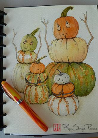 Pumpkins Praising- www.FaithworksArtStudio.com