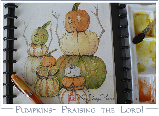 Pumpkins Praising The Lord www.FaithworksArtStudio.com