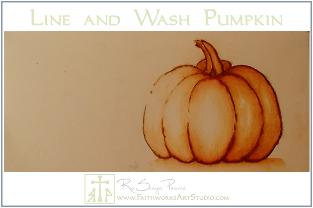 Line and Wash Pumpkin www.FaithworksArtStudio.com