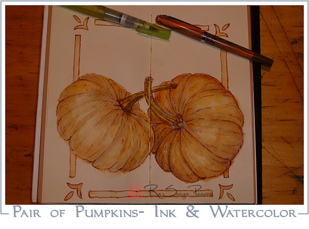 Pair of Pumpkins- Ink and Watercolor- www.faithworksartstudio.com