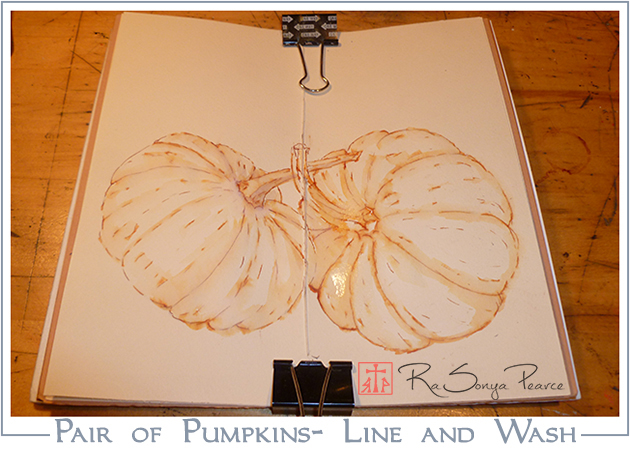 Pair of Pumpkins- Line and Wash www.faithworksartstudio.com
