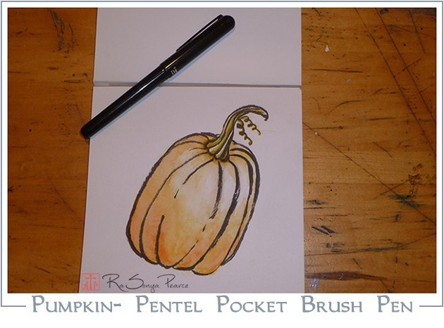 Pumpkin created with Pentel Pocket Brush www.faithworksartstudio.com