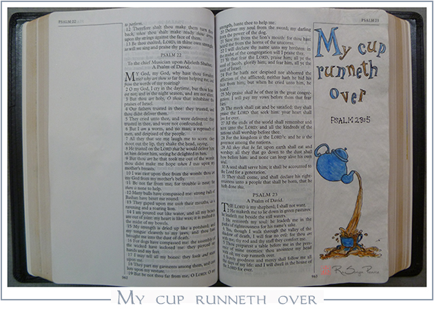 My cup runneth over, faith journaling RaSonya Pearce www.FaithworksArtStudio.com