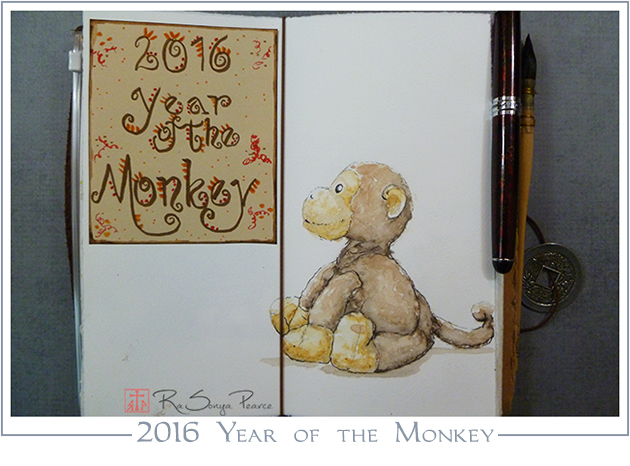 2016 Year of the Monkey  Art 365-16-1 www.FaithworksArtStudio.com