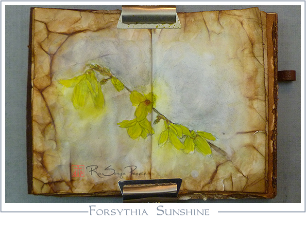 Forsythia Sunshine. Art 365-16-78, RaSonya Pearce, www.FaithworksArtStudio.com