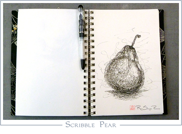 Scribble Pear, Art 365-16-89, RaSonya Pearce, www.FaithworksArtStudio.com