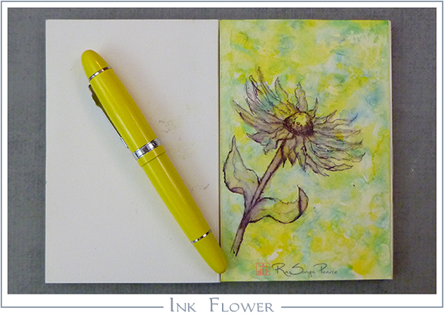 Ink Flower, Art 365-16-95, RaSonya Pearce, www.FaithworksArtStudio.com