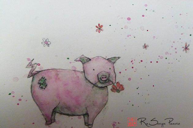 Piggie, Art 365-16-113, RaSonya Pearce, www.FaithworksArtStudio.com