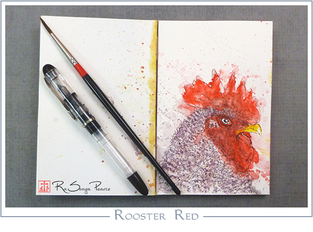 Rooster Red, Art 365-16-107, RaSonya Pearce, www.FaithworksArtStudio.com