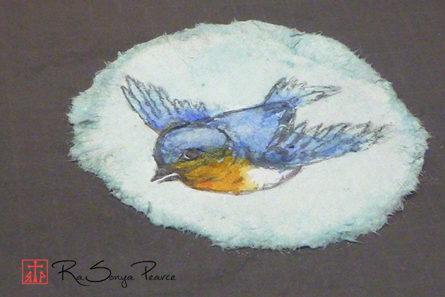 Tiny Bluebird, Art 365-16-116, RaSonya Pearce, www.FaithworksArtStudio.com