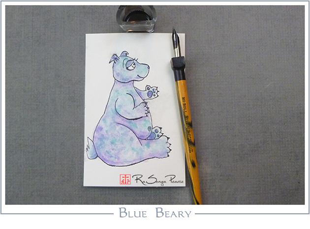 Blue Beary, Art 365-16-127, RaSonya Pearce, www.FaithworksArtStudio.com