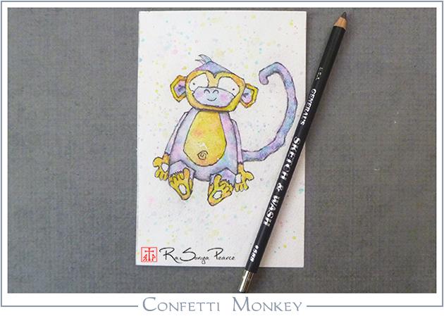 Confettii Monkey, Art 365-16-144, RaSonya Pearce, www.FaithworksArtStudio.com