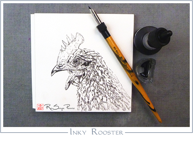 Inky Rooster, Art 365-16-134, RaSonya Pearce, www.FaithworksArtStudio.com