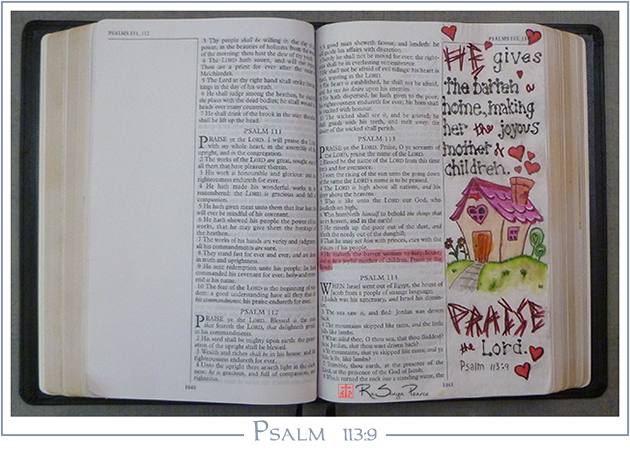 Psalm 113:9, Art 365-16-129, RaSonya Pearce, www.FaithworksArtStudio.com